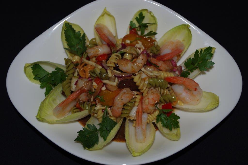 Mediterranean Shrimp Salad with Tri-Color Rotini Barilla Pasta